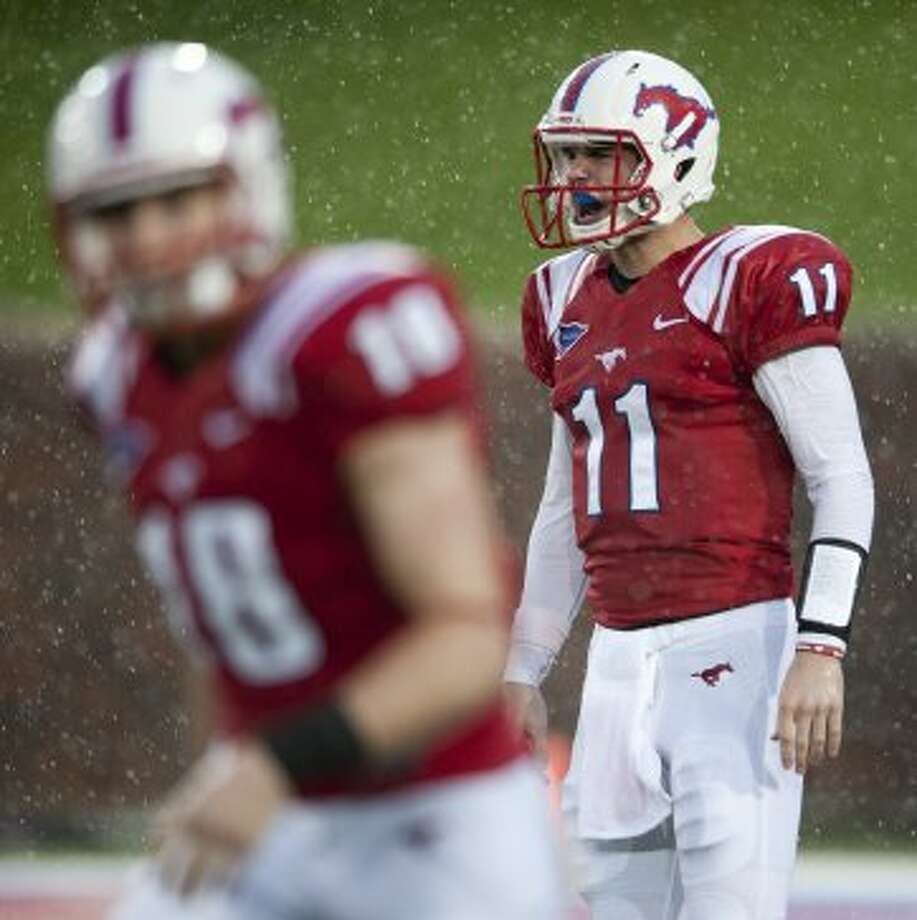 8. SMU (1-3, next week @ UTEP) — Sure, the rainy conditions played a part in the Mustangs' putrid outing against TCU. But Garrett Gilbert was a turnover machine. (Cooper Neill / Getty Images)