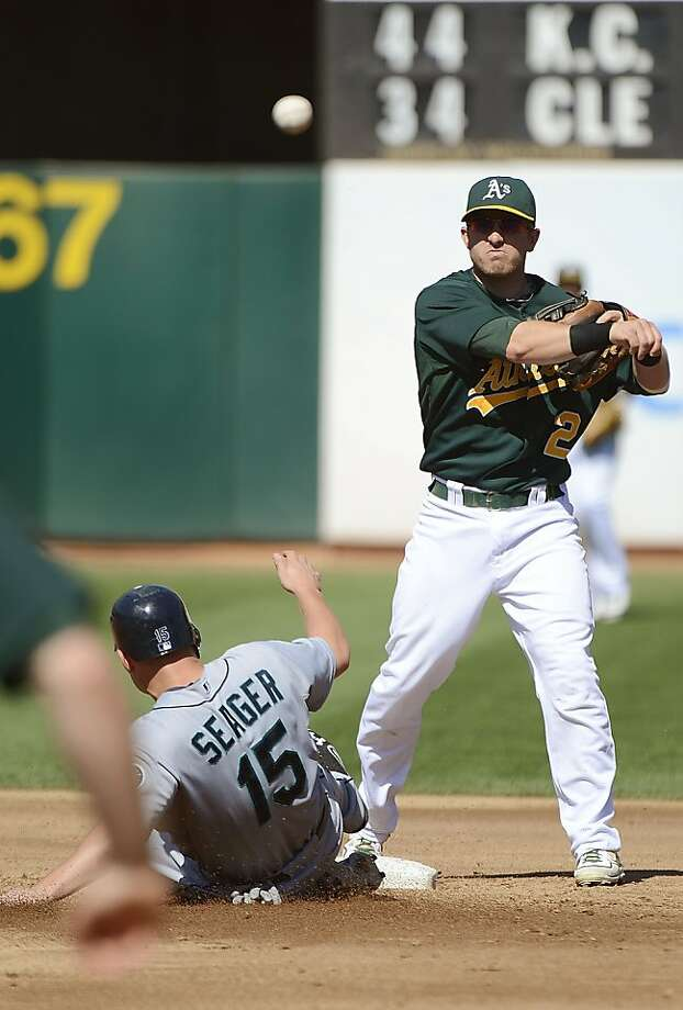 OAKLAND, CA - SEPTEMBER 30:  Cliff Pennington #2 of the Oakland Athletics gets his throw off to complete the double-play as Kyle Seager #15 of the Seattle Mariners slides into second base in the third inning at O.co Coliseum on September 30, 2012 in Oakland, California.  (Photo by Thearon W. Henderson/Getty Images) Photo: Thearon W. Henderson, Getty Images