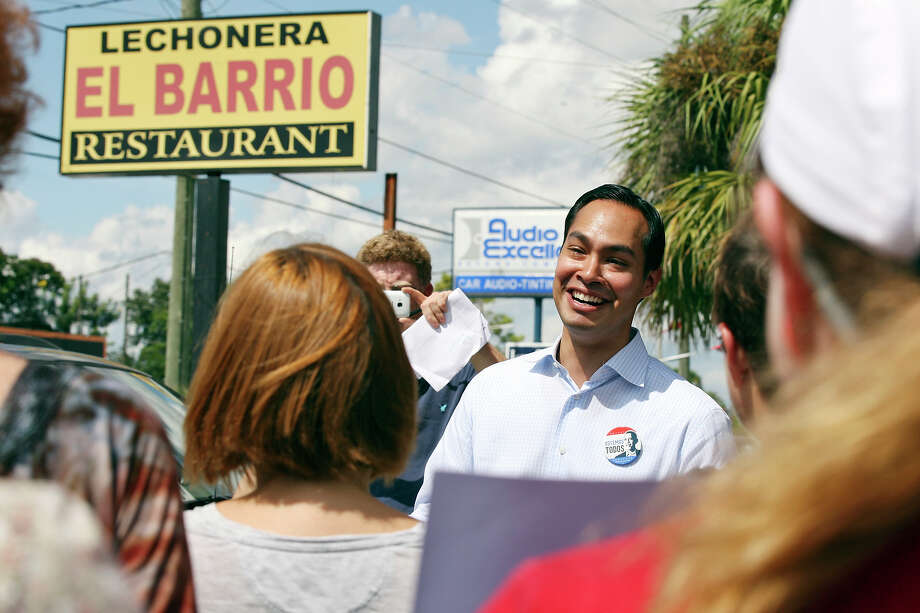 Mayor Julián Castro speaks during a  rally Sunday Sept. 30, 2012 at Lechonera El Barrio Restaurant in Orlando, FL.  Castro helped energize volunteers for the Obama For America campaign. Scores of volunteers fanned out through Orlando neighborhoods to talk to potential voters about re-electing the president and register new voters. Castro thanked the volunteers, who headed back out to continue their work leading up to Oct. 9, the last day to register voters. Photo: Edward A. Ornelas, Express-News / © 2012 San Antonio Express-News