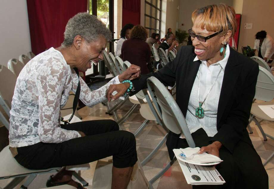 TSU junior Carolyn Hancock, 70, left, shares a laugh with Bonnie L. James, director for Academic Advisement and Counseling, after a meeting for nontraditional students as part of an effort to help them adjust to college life. Photo: J. Patric Schneider / © 2012 Houston Chronicle