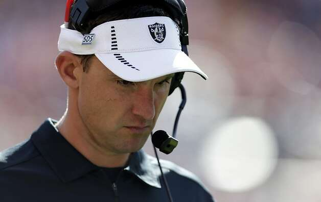 Oakland Raiders coach Dennis Allen during the second quarter of an NFL football game, Sunday, Sept. 30, 2012, in Denver. (AP Photo/Joe Mahoney) Photo: Joe Mahoney, Associated Press
