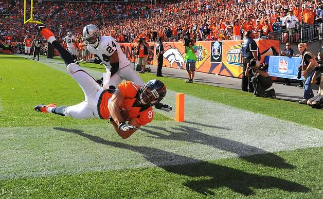 Denver Broncos wide receiver Eric Decker comes down with the ball out of bounds in the second half on Sunday, September 30, 2012 at Sports Authority Field at Mile High in Denver, Colorado. The Denver Broncos defeated the Oakland Raiders, 37-6. (Mark Reis/Colorado Springs Gazette/MCT) Photo: Mark Reis, McClatchy-Tribune News Service