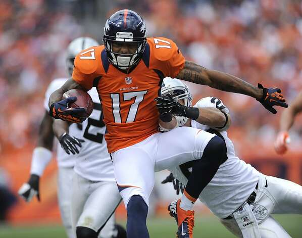 Denver Broncos wide receiver Andre Caldwell looks for extra yardage in the second quarter against the Raiders on Sunday, September 30, 2012 at Sports Authority Field at Mile High in Denver, Colorado. The Denver Broncos defeated the Oakland Raiders, 37-6. (Mark Reis/Colorado Springs Gazette/MCT) Photo: Mark Reis, McClatchy-Tribune News Service
