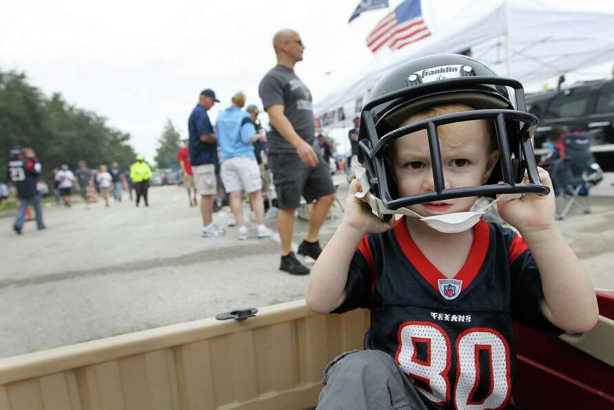 Jacobi Stegman, 2, who is named after former Texans receiver  Jacobi Jones, puts on his game face on