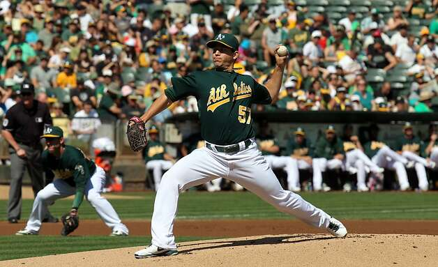 Oakland Athletics starting pitcher Tommy Milone throws to the Seattle Mariners in the first inning of their MLB baseball game with the Sunday September 30, 2012 in Oakland California Photo: Lance Iversen, The Chronicle
