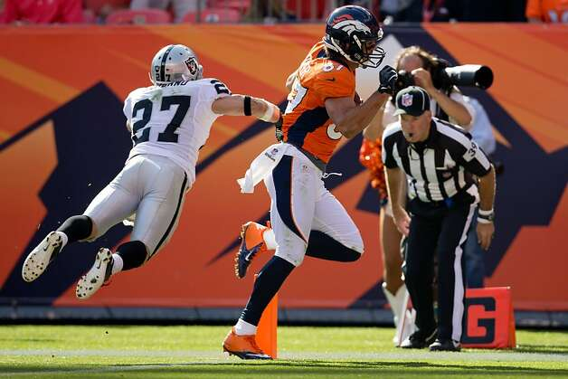 Broncos receiver Eric Decker crosses the goal line on a 17-yard pass, the first of three Denver touchdowns in the third quarter. Photo: Justin Edmonds, Getty Images