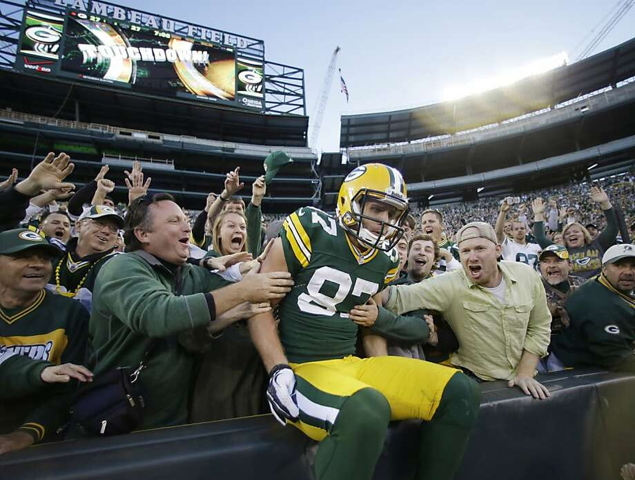 Jordy Nelson and the Packers were sitting pretty after he caught a touchdown pass from Aaron Rodgers. Photo: Jeffrey Phelps, Associated Press