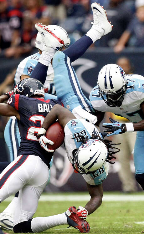 Chris Johnson may not have been head over heels about his play in the Titans' first three games, but he appeared to bounce back in snapping the Texans' streak of holding opposing running backs under 100 yards. Photo: Nick De La Torre / © 2012  Houston Chronicle