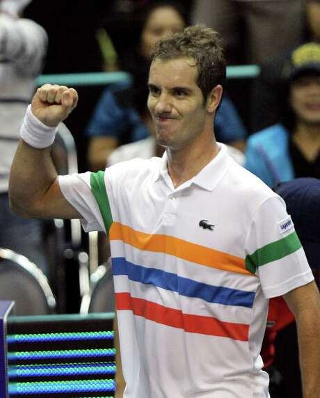 Richard Gasquet of France celebrates after defeating his compatriot Gilles Simon in their final at the Thailand Open tennis tournament in Bangkok, Thailand Sunday, Sept. 30, 2012.  Gasquet won the match 6-2, 6-1. (AP Photo/Sakchai Lalit) Photo: Sakchai Lalit / AP