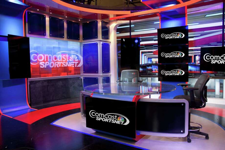A brightly colored set will greet viewers when Comcast SportsNet Houston signs on at 5 p.m. today.