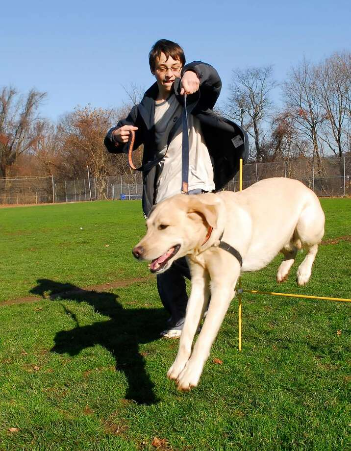 Zach Karwaski, 14, a freshman at Westhill High School, puts Golden Retriever,  Jay over a jump during doggie daycare class at Westhill High School in Stamford, Tuesday December 8th, 2009. Photo: Bob Luckey / Stamford Advocate