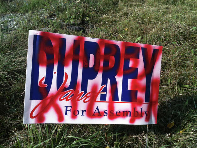 A Janet Duprey for Assembly campaign sign was defaced during the Repubican's successful primary election in September 2012.