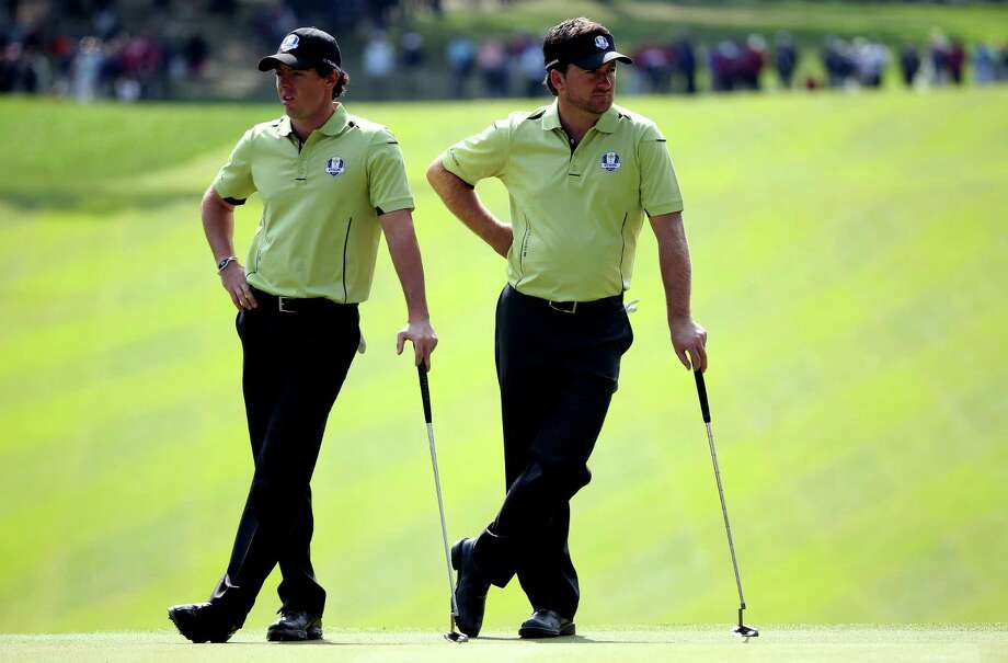 MEDINAH, IL - SEPTEMBER 28:  Rory McIlroy and Graeme McDowell during the Afternoon Four-Ball Matches for The 39th Ryder Cup at Medinah Country Club on September 28, 2012 in Medinah, Illinois.  (Photo by Andrew Redington/Getty Images) *** BESTPIX *** Photo: Andrew Redington, Getty Images / 2012 Getty Images