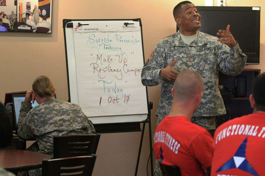 Chaplain Maj. Ken Harris speaks to soldiers during Suicide Prevention Training at Fort Hood in 2010. Today, more troops die by their own hand than on the battlefield.  Photo: File Photo, Houston Chronicle / Houston Chronicle
