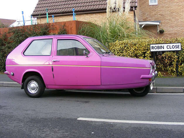 13. 1974 Reliant Robin -- This car was underpowered and was silly looking three-wheel car. Does it surprise you that it made this list? (Photo: Caroline Stokes, Flickr)