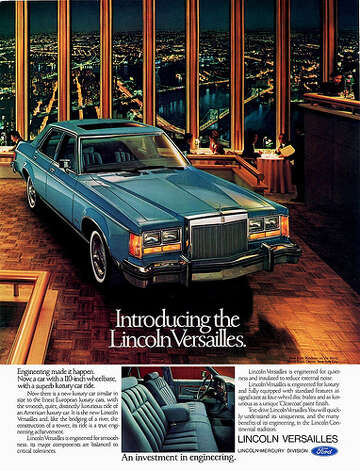 "29. 1977 Lincoln Versailles -- This was a sad attempt to create a ""sophisticated"" car. It shows through in the advertisement. (Photo: Aldenjewell, Flickr)"