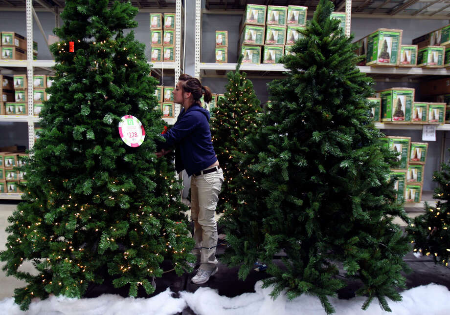 The big box stores start putting up Christmas decorations. Photo: JOHN DAVENPORT, . / jdavenport@express-news.net