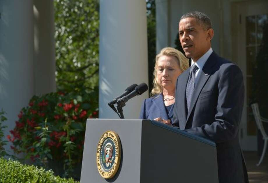 US President Barack Obama makes a statement on the killing of US Ambassador to Libya Chris Stevens and three colleagues in Libya September 12, 2012 from the Rose Garden at the White House in Washington, DC. Obama strongly condemned Wednesday the killing of  Stevens, in a mob attack at a US Consulate in Benghazi, fueled by anger over a film mocking Islam. (MANDEL NGAN / AFP/Getty Images)