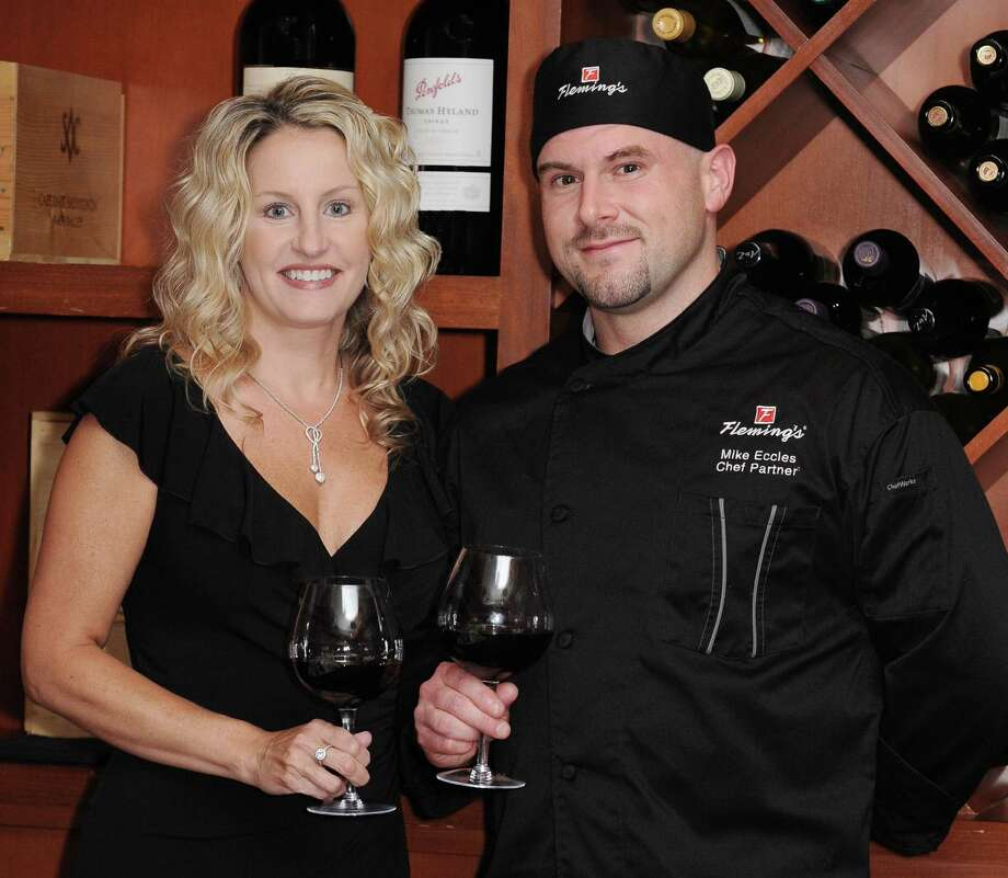 Michael Eccles, right, has been named chef partner for Fleming's Prime Steakhouse and Wine Bar in The Woodlands, joining Shelli Moran, left, operating partner, and her team.