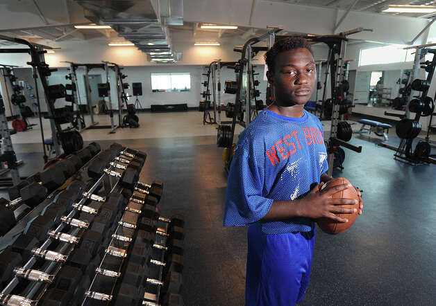 West Brook's Ladarious Spearman talks about a game-day, broken jaw and the philosophy of football. Photo taken Wednesday, September 26, 2012 Guiseppe Barranco/The Enterprise Photo: Guiseppe Barranco, STAFF PHOTOGRAPHER / The Beaumont Enterprise