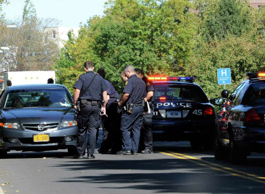 An 84-year-old man was hospitalized after being hit by a car Monday afternoon, Oct. 1, 2012, on Field Point Road in Greenwich, police said. The man was walking along the road at 12:52 p.m. when he was hit by a car driving southbound. Photo: Helen Neafsey / Greenwich Time