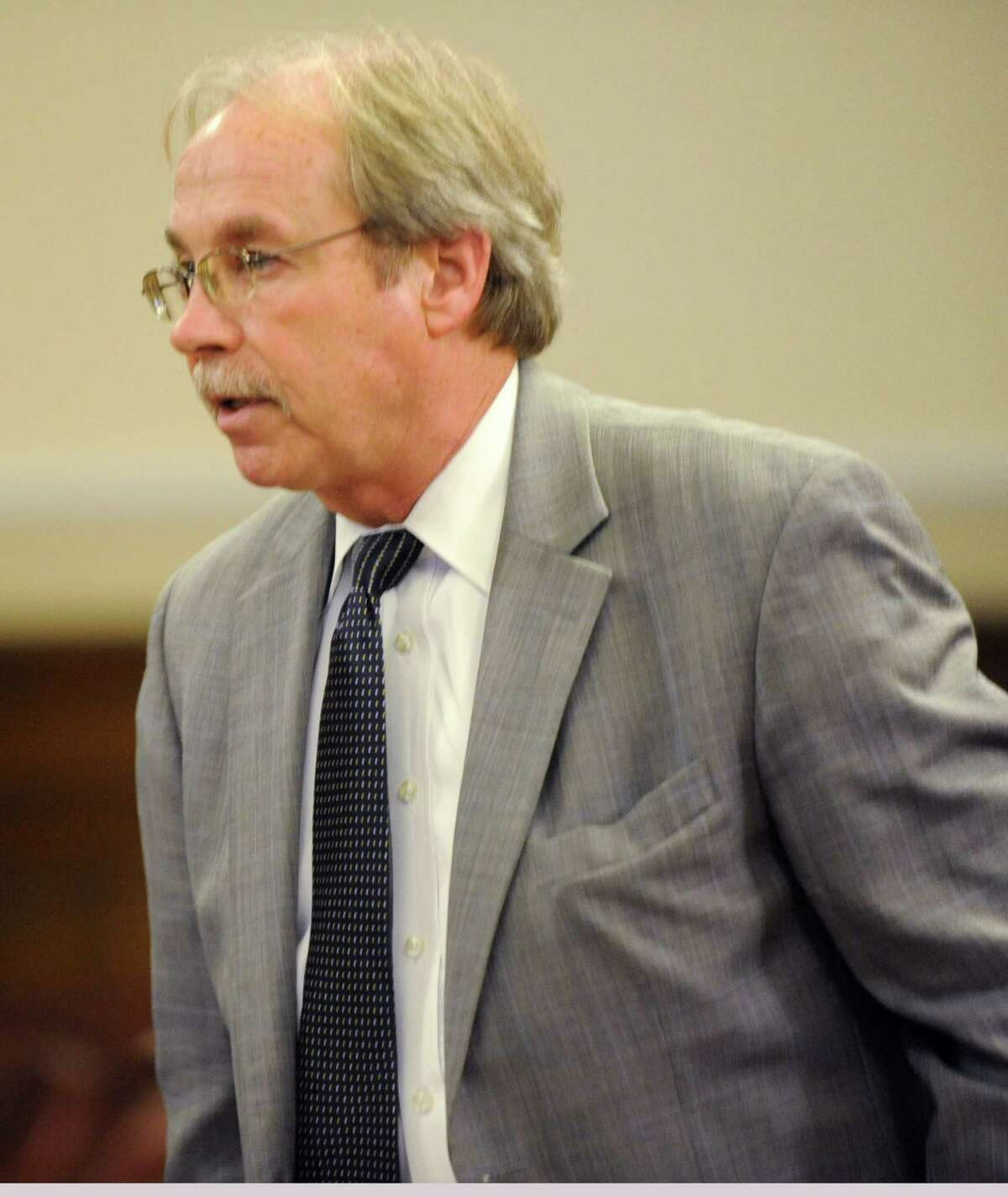 First Assistant District Attorney Arthur Glass speaks in the case of Robert Hayden of Troy in a courtroom in the Rensselaer County Court House on Monday, Oct 1, 2012 in Troy, N.Y. Hayden told police he performed CPR on a toddler for two hours after he allegedly put his hand over the crying boy's mouth and he stopped breathing. Hayden is charged with murder and manslaughter. (Lori Van Buren / Times Union)