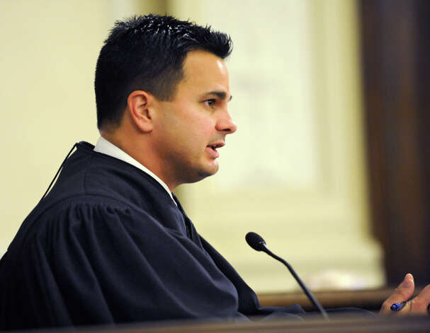 Rensselaer County Judge Andrew Ceresia speaks in the case of Robert Hayden of Troy in a courtroom in the Rensselaer County Court House on Monday, Oct 1, 2012 in Troy, N.Y. Hayden told police he performed CPR on a toddler for two hours after he allegedly put his hand over the crying boy's mouth and he stopped breathing. Hayden is charged with murder and manslaughter. (Lori Van Buren / Times Union) Photo: Lori Van Buren