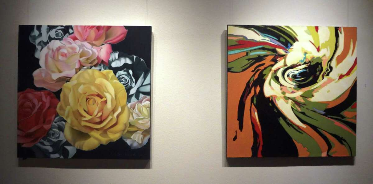 """Artist Janis Marckstein's realistic depiction of roses (left), led to """"Katrina Roses"""" (right), a more abstract view."""