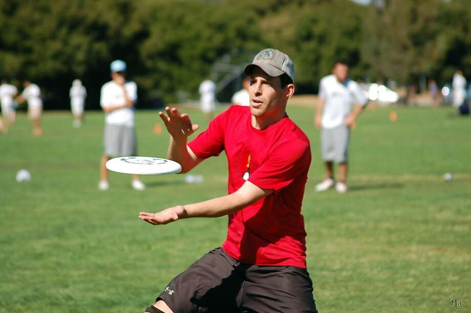 Adam Leventhal plays Ultimate Frisbee with his team at San Francisco's Crocker-Amazon Park. Photo: Amy Chang, Courtesy Adam Leventhal