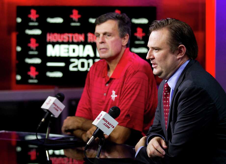 Houston Rockets general manager Daryl Morey, right, and head coach Kevin McHale answers questions during Rockets Media Day Monday, Oct. 1, 2012, in Houston. Photo: Brett Coomer, Chronicle / © 2012 Houston Chronicle
