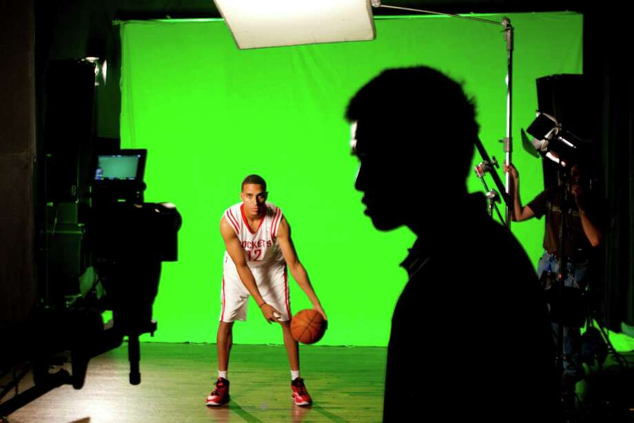 Houston Rockets guard Kevin Martin does a video promo during Rockets Media Day Monday, Oct. 1, 2012, in Houston. Photo: Brett Coomer, Chronicle / © 2012 Houston Chronicle