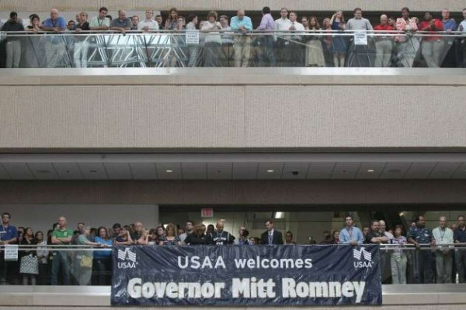Mitt Romney speaks at USAA in San Antonio on June 6, 2012. (Express-News photo)