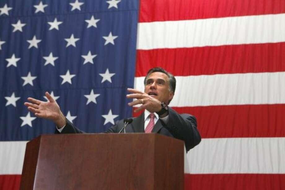 Mitt Romney speaks at USAA in San Antonio on June 6, 2012. (Express-News photo)