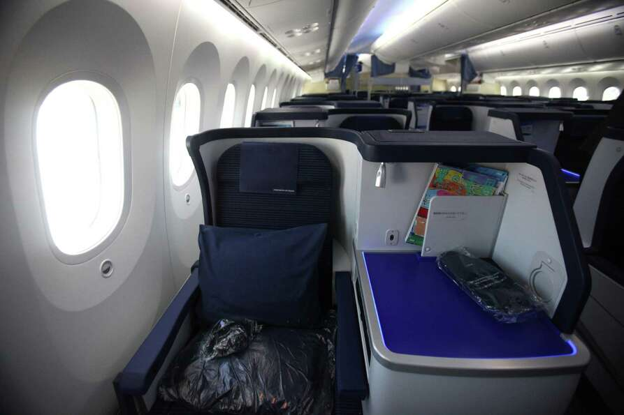 A seat is shown aboard the first Boeing 787 to provide commercial service to Sea-Tac Airport.