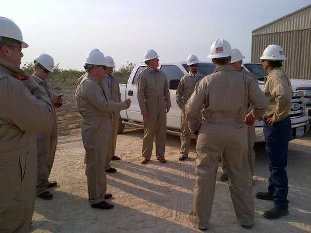 "Rep. Francisco ""Quico"" Canseco is suited up and ready to go on a rig tour. (Rep. Canseco Twitter feed)"