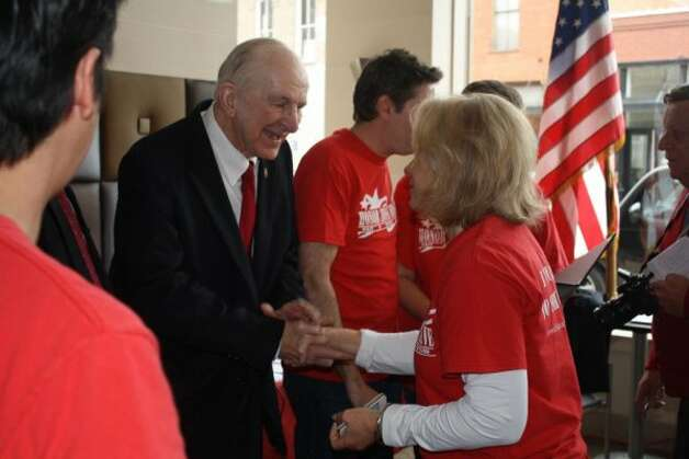 Rep. Sam Johnson, R-Plano, at the red t-shirt campaign kick-off event in support of U.S. veterans. (Facebook of Sam Johnson)
