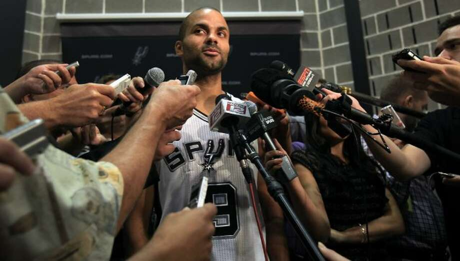 The San Antonio Spurs Tony Parker addresses the media during an interview at media day at the team's practice facility.  Oct. 1, 2012. (San Antonio Express-News)