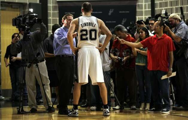 The San Antonio Spurs Manu Ginobili speaks to the media during media day at the Spurs' practice facility.  Oct. 1, 2012. (San Antonio Express-News)