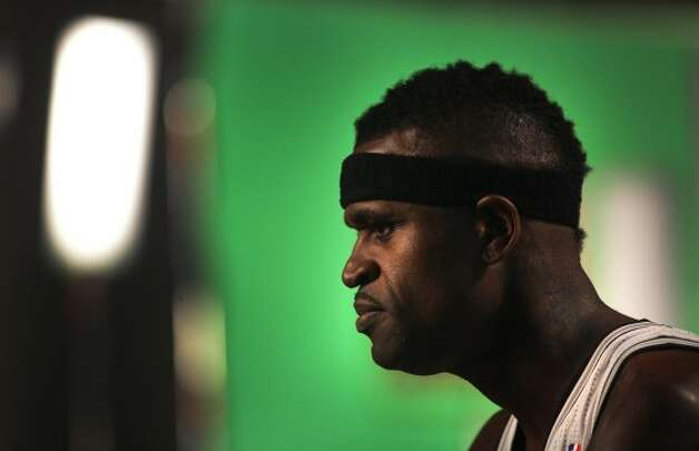 The San Antonio Spurs Stephen Jackson gives an interview during media day at their practice facility.  He said he hopes some of the other players get a little bit of his attitude.  Oct. 1, 2012. (San Antonio Express-News)