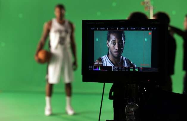 The San Antonio Spurs Kawhi Leonard poses for photos during media day at the team's practice facility.  Oct. 1, 2012. (San Antonio Express-News)