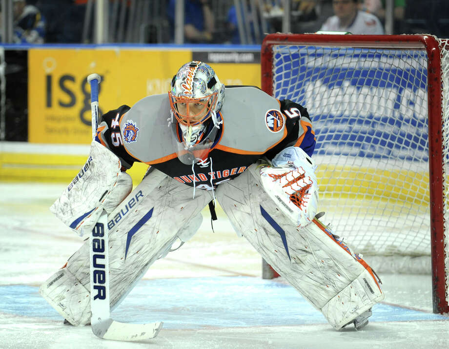 Sound Tiger goalie Anders Nilsson stares down a face off in his end during the second period of their AHL matchup with the Hershey Bears at the Webster Bank Arena in Bridgeport on Sunday, February 19, 2012. Photo: Brian A. Pounds / Connecticut Post