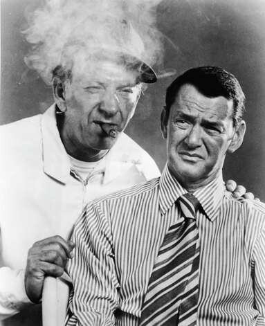 1959: Co-host Tony Randall, pictured on right with Jack Klugman. Photo: Hulton Archive, Getty Images / Hulton Archive