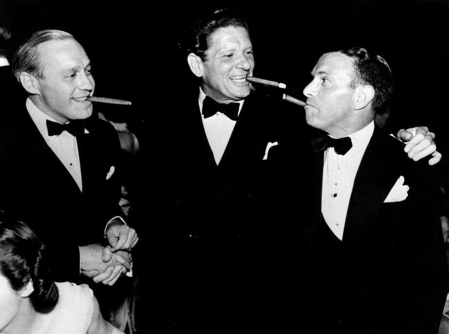 1938: Bob Burns, pictured with Jack Benny, left, and brother George Burns, right. Photo: General Photographic Agency, Getty Images / Hulton Archive
