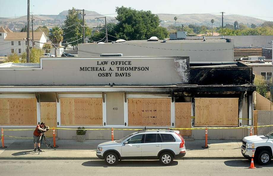 "An arson described by police as a case of ""potential domestic terrorism"" wrecked the law office of Vallejo Mayor Osby Davis. It is the latest in what he says was a string of attacks against him. Photo: Noah Berger, Special To The Chronicle"