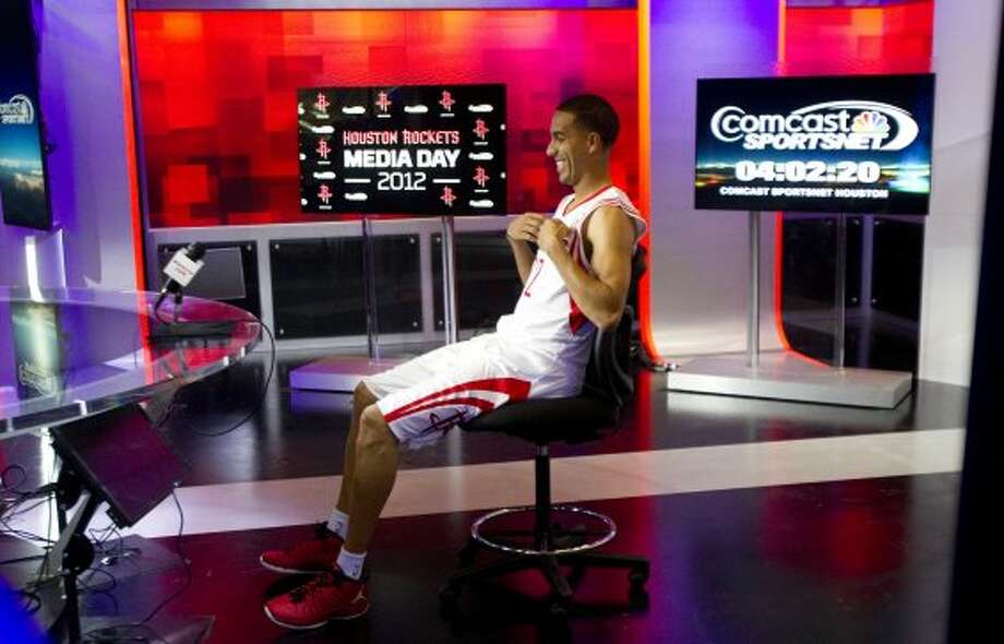 Rockets guard Kevin Martin sits down for an interview during Rockets Media Day. (Brett Coomer / © 2012 Houston Chronicle)