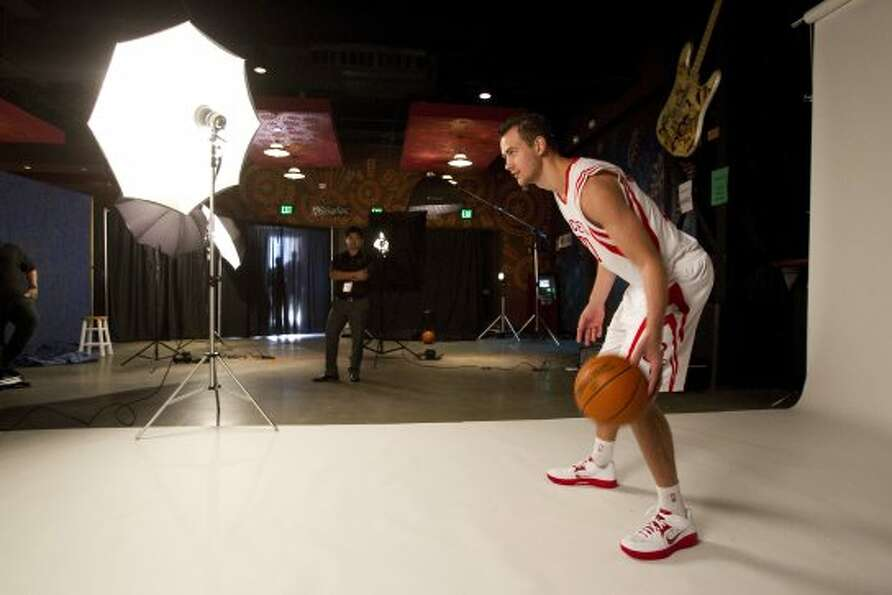 Rockets forward Donatas Motiejunas poses for portraits. (Brett Coomer / © 2012 Houston Chronicle)