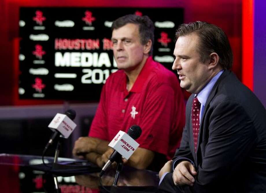 Rockets general manager Daryl Morey and head coach Kevin McHale answered inquiries from the media. (Brett Coomer / © 2012 Houston Chronicle)