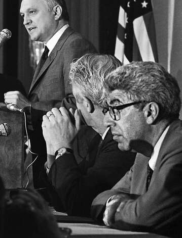 Barry Commoner (right) listens to Interior Secretary Walter J. Hickel in '70. Commoner's radioactive fallout study led to a Nuclear Test Ban Treaty. Photo: Sjv, Associated Press