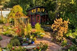 Hollynn D'lil's garden labyrinth at her home in Graton, California. Ms. D'lil, a paraplegic, can tend to every part of her garden from her motorized wheelchair by using raised planters and long-handled garden tools.