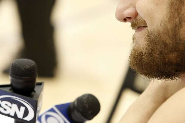 Andrew Bogut displayed substantial facial hair when he talked with reporters. Photo: Carlos Avila Gonzalez, The Chronicle